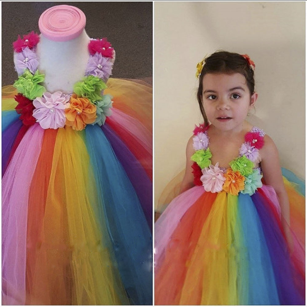Baby Kids Colorful Flowers Rainbow Tutu font b Dress b font font b Fancy b font