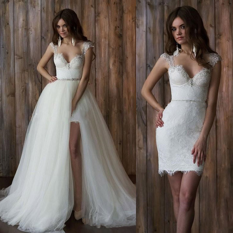 Vintage Wedding Dresses Utah: Vestido De Noiva 2 Em 1 Vintage Lace Wedding Dress Sexy