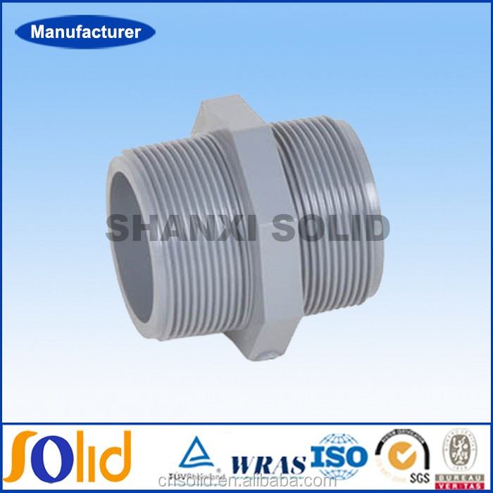 Plastic Pipe Fitting Pvc Double Male Threaded Adaptor