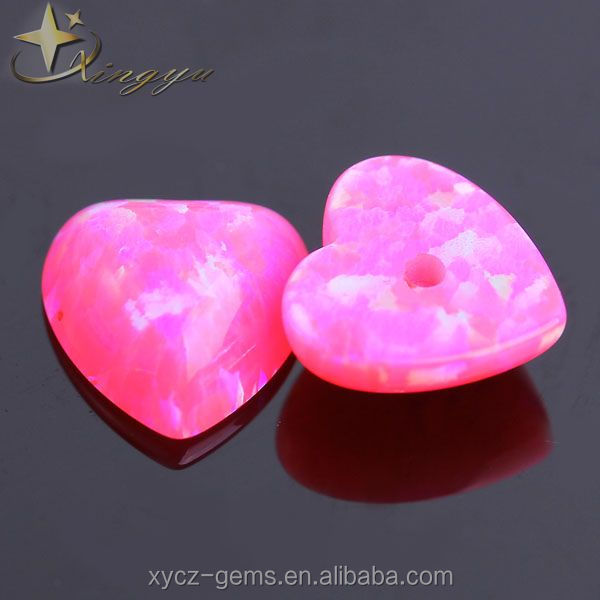 Synthetic Imitation OP55 Pink Fire Opal Heart Cabochon cut with Central Hole For Opal Earrings