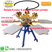 Manual floor standing double carousel 6 color 6 print bed silk screen printer for flat surface items