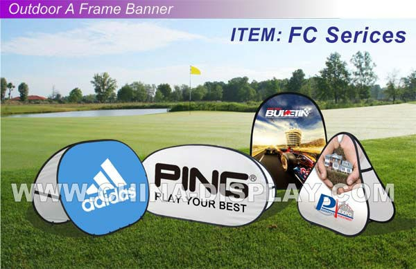 High quality full color fabric pop up banner signage golf tournament signs