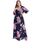 Wholesale flower navy sexy casual deep v women three quarter wrap dres plus size maxi dress