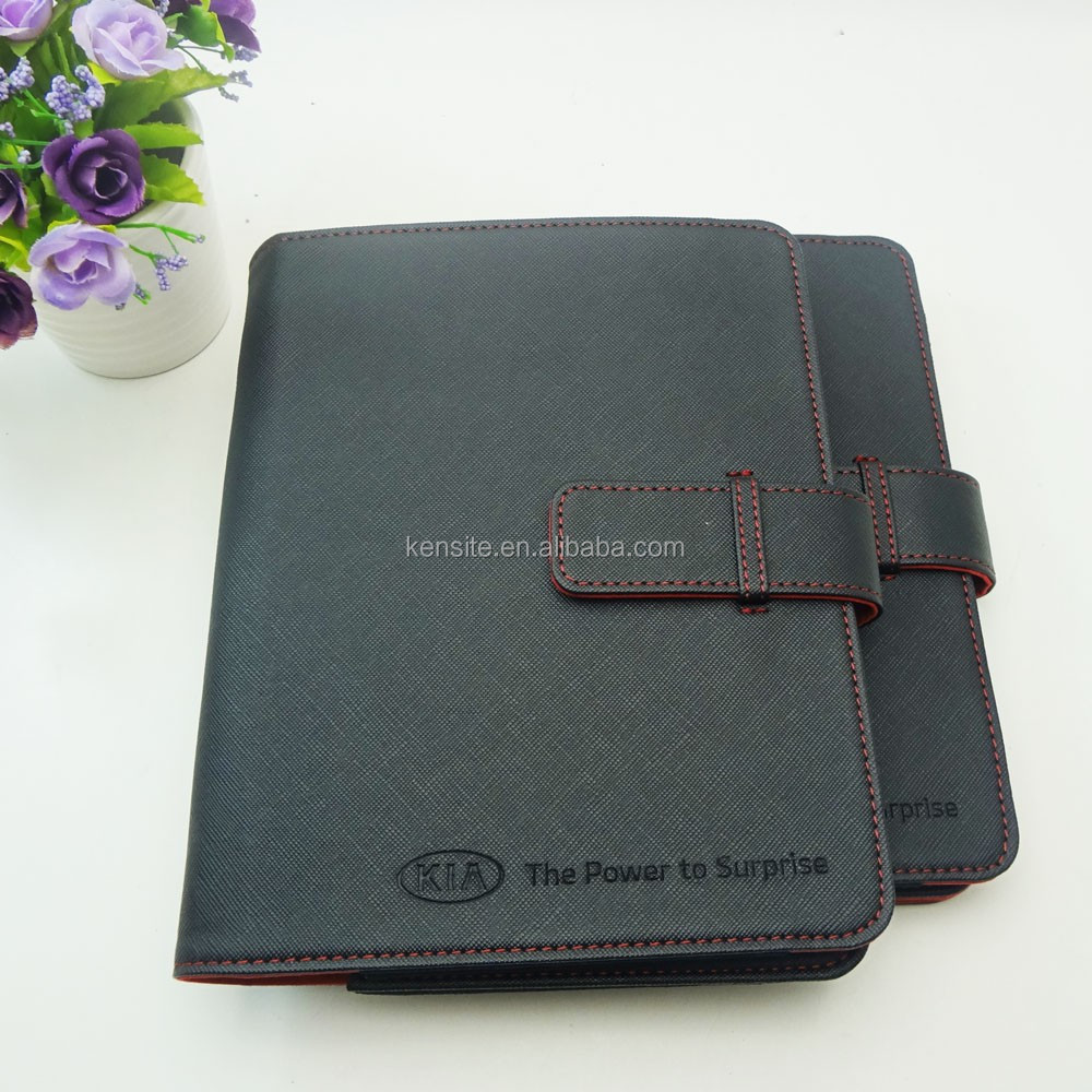 customized deboss logo auto leather wallet folio