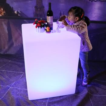 remote control portable white plastic illuminated cube table 16 colors changing led plastic light cube for bar party nightclub