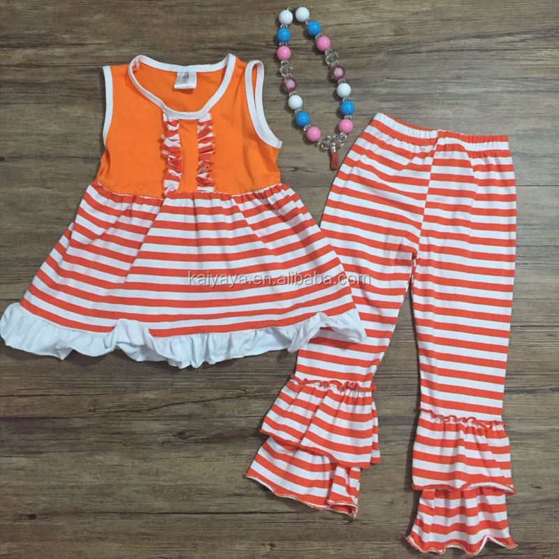 Orange Lotus Lace Cotton Newborn Halloween Suit Sleeveless Stripe Printed Boutique Baby Suit