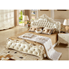 Bedroom Furniture Antique French Style King Size White Leather Wooden Bed