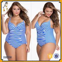 Chic Spaghetti Strap Blue White Striped Underwire Swimsuit Plus Size One-Piece Swimwear For Women