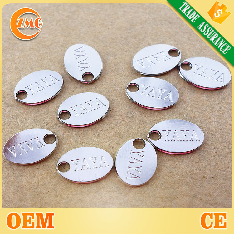 custom shiny brass small oval logo engraved metal jewelry tags