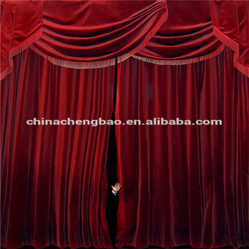 Red Velvet Fire Retardant Blackout Fabric Black Stage Background