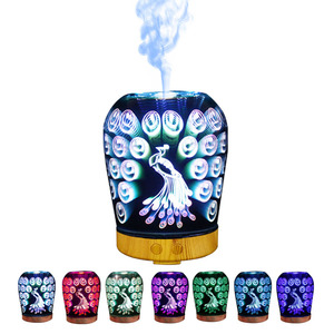 Jellyfish Peacock Design Round Clean Air Nignt Lamp 3D Aromatherapy Humidifier