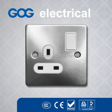Gog S5 Series Stainless steel electrical wall switch socket Electrical Wall 13amp 2 Gang Switched Socket UK