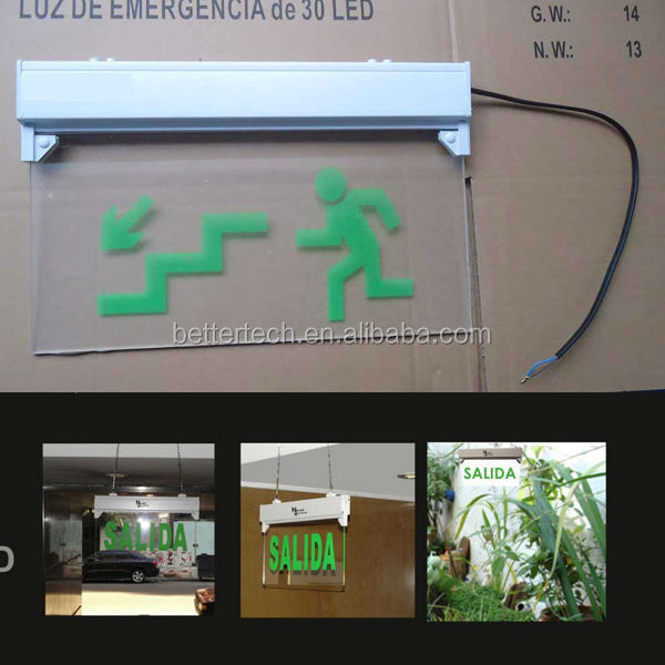 Green LED Light Exit Sign - Standard AC/DC Mounting Plate NEW