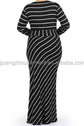 Zwart Wit Maxi Jurk.Plus Size Gestreepte Zwart Wit Blauw Zandloper Slanke Lange Maxi