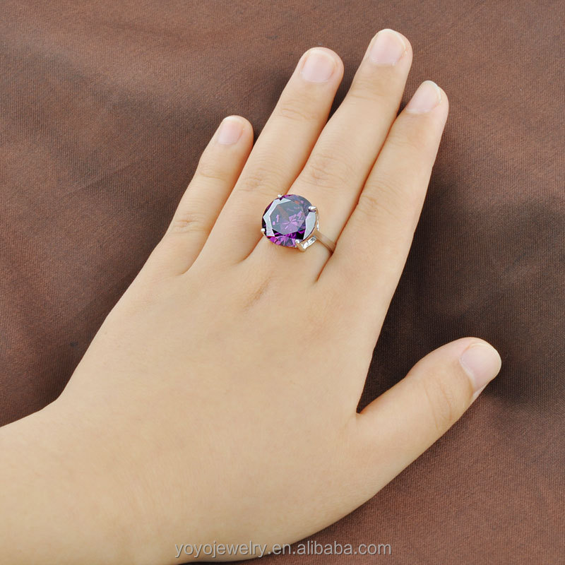 Dazzling cubic zircon big single stone finger purple black ring ...