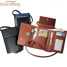 popular genuine leather double passport holder hanging travel neck pouch travel wallet for air ticket