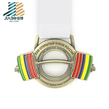 Factory price special shape powerlifting sport weight lifting metal  medal