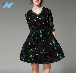 OEM women's clothing New latest design dress women girl's fashion lace v neck sexy floral printing cute dress