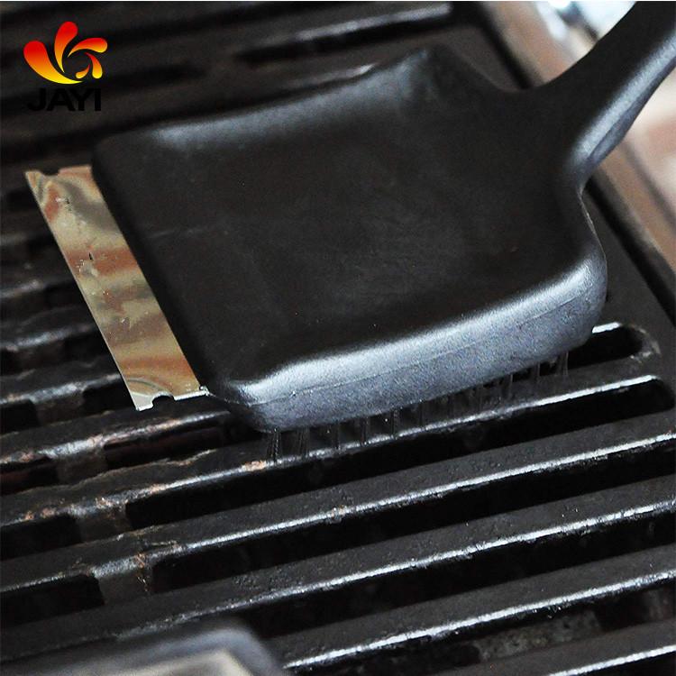 Izgara tahta fırçası BARBEKÜ Kolu Temizleme Fırçası 2 In 1 BARBEKÜ Izgara Temizleme Araçları Paslanmaz çelik kazıyıcı Barbekü ızgara fırçası