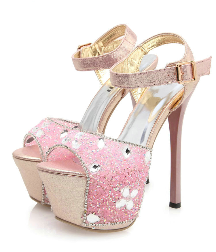 d2e20a7f16d4 Buy NEW Ultra High Heels Women  39 s Plus Size Platform Sandals Rhinestone  16cm Sexy Thin Heels Open Toe Sandals Pink High-Heeled Shoes in Cheap Price  on ...