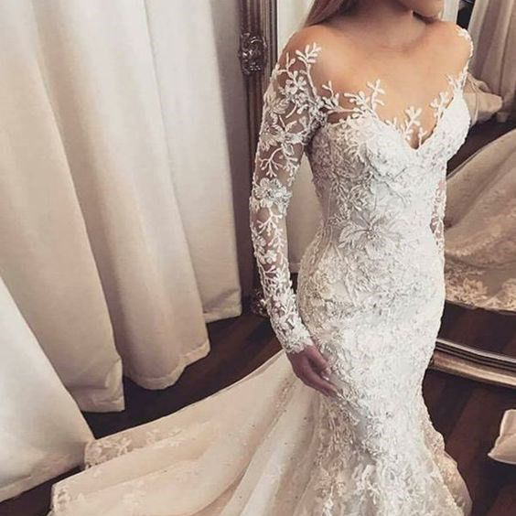 Mermaid White Court Train Appliques Gaun pengantin renda