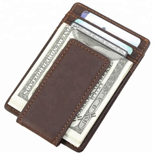 Cow Leather Magic Wallet RFID Money Clip Magnet Credit Card Holder