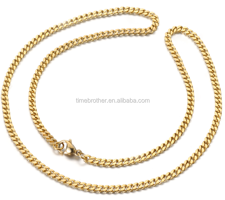 18k gold men's necklace stainless gold mesh chain necklace fashion necklace