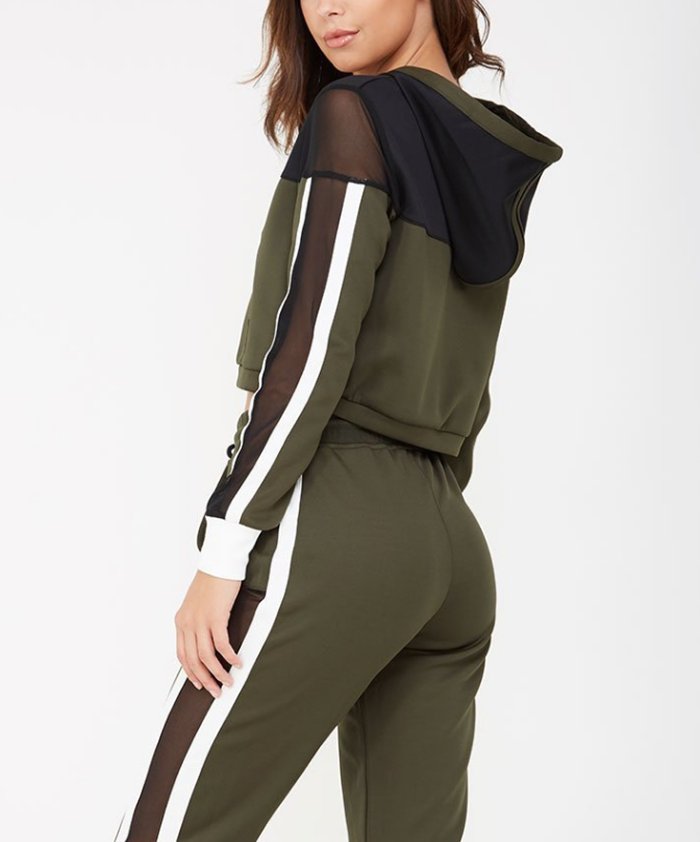 Women Khaki Stripe Panel Tracksuits with contrast