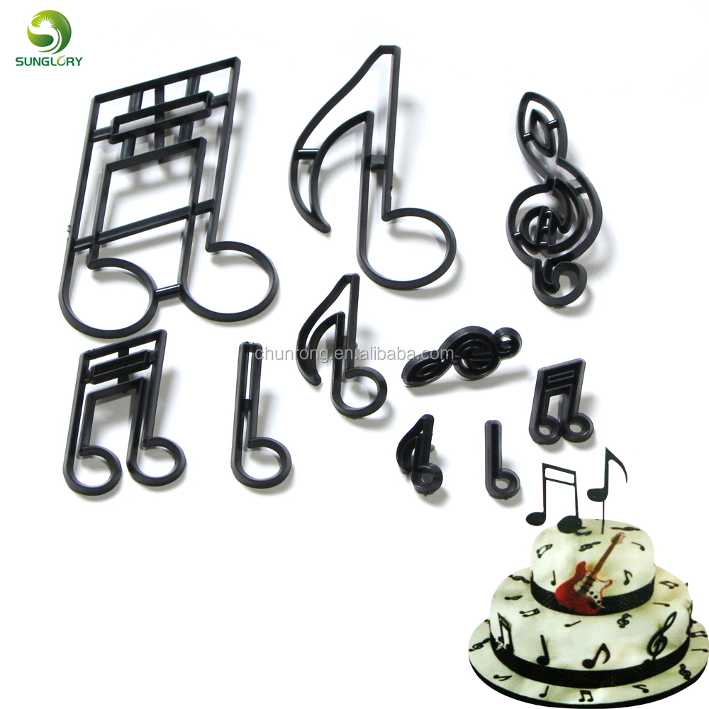 10 stks/set Extra Grote Music Notes Cookie Cutter Plastic Sugarcraft Fondant Cutter Mold Taart Decoreren Gereedschappen Bakken Cupcake Mold