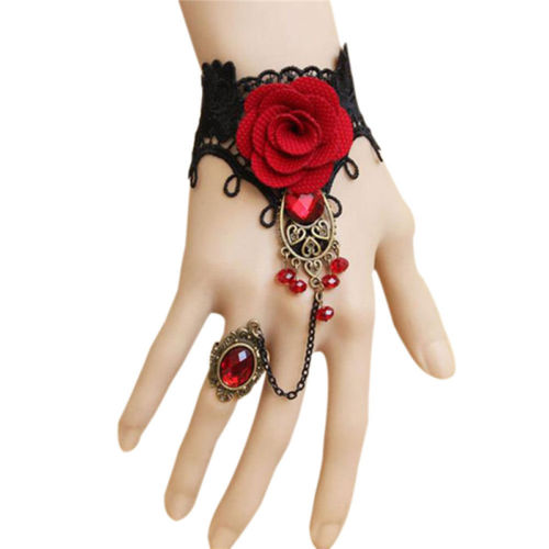 With ring Jewelry Gothic Style Lace Red Rose Bracelet