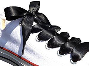 Black Satin Ribbon Shoe Laces / Shoe Strings To Fit Converse Sneakers in Lo's & Hi Tops & Similar Kicks Pumps Trainers. From a Stylish UK Brand with Our Pimp My Shoes Logo on the Aglets (plastic tips). Available in All Sizes from Kids to Adults. Pimp My Shoes Satin Shoelaces are the Latest Fashion