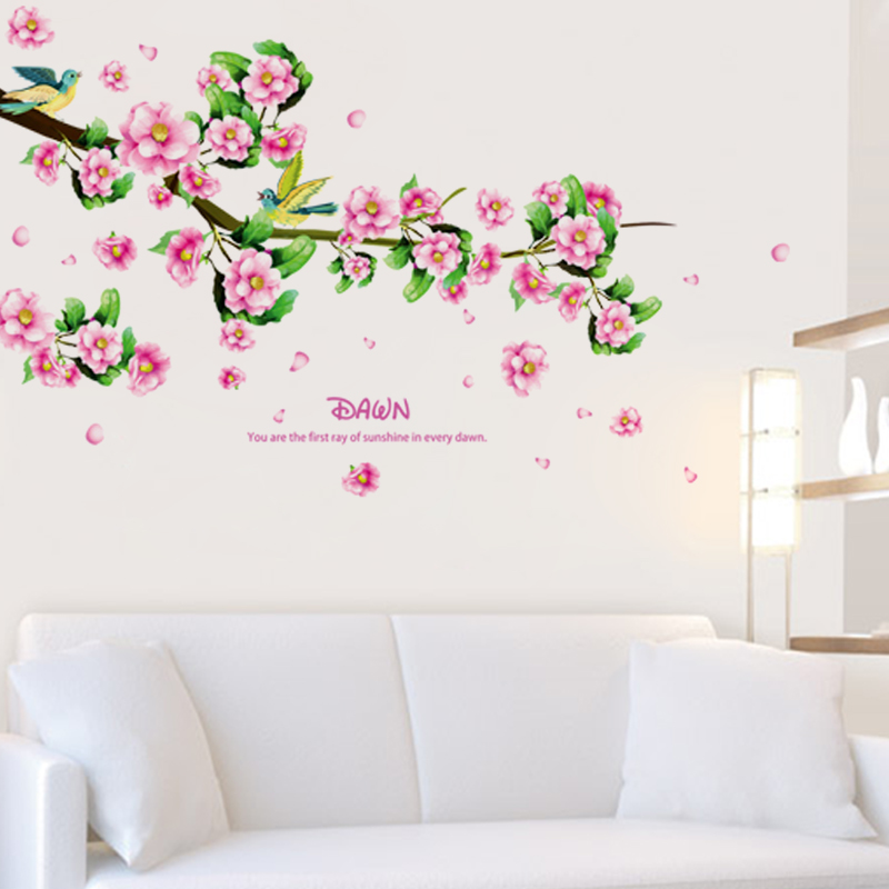 Warm Love Flower Wall Sticker Home Decor Poster For Kids Rooms Bedroom Sofa TV Background Removable Peach Sticker Mural