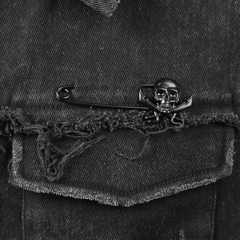 Y-507 Cool Black Punk Clothes Gothic Man Denim Waistcoats