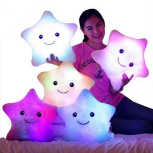 New product ideas 2019 Creative LED Glowing Pillows Children Plush Toys Colorful Glowing Lights Stars Christmas Gifts for Kids