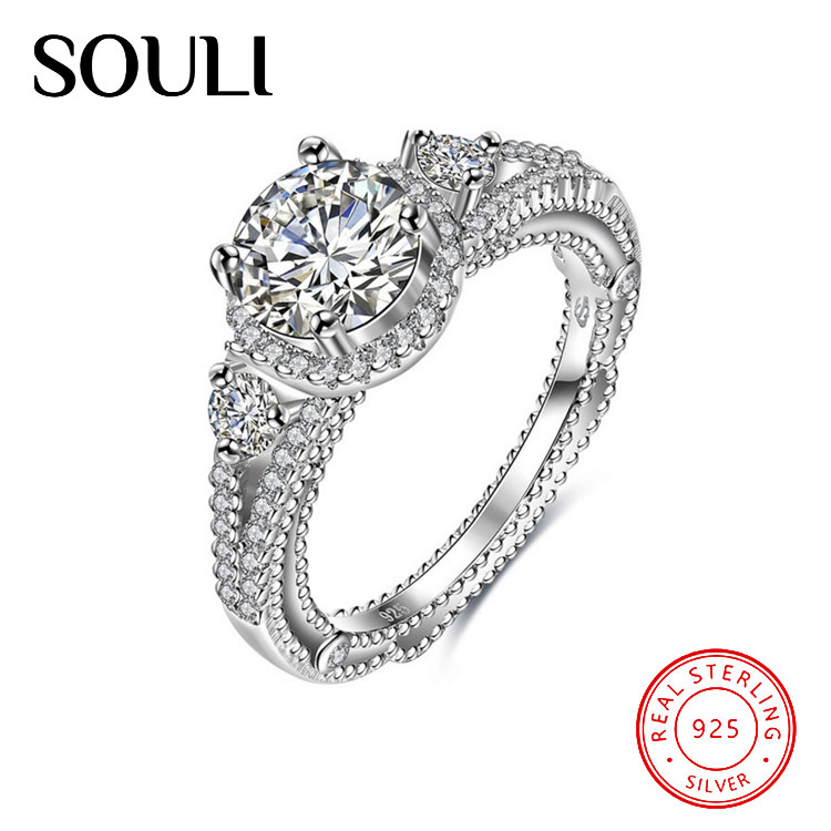 New Charms China Factory Cubic Zirconia 925 Sterling Silver Engagement Ring for Bridal