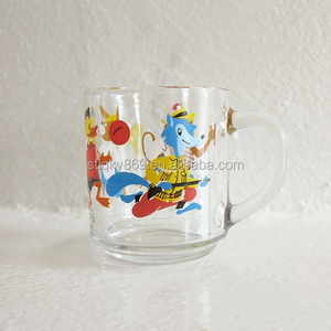 glass animal friends mug for drinking milk regular glass mug with handle animal designs kids mug