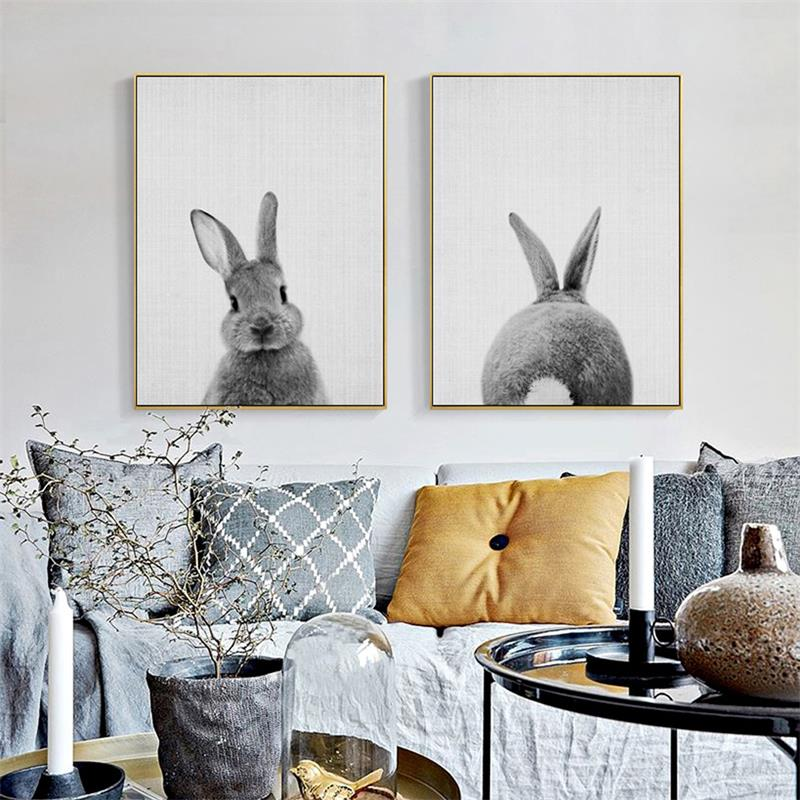 Black White Baby Animal Rabbit Tail Canvas Art Print and Poster Nursery Bunny Canvas Painting for Kids Room Nordic Wall Decor