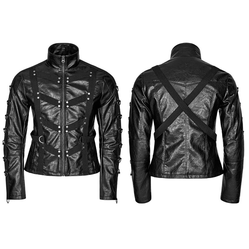 Y-764 Unique design heavy Punk black high collar short leather jackets