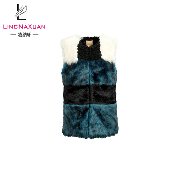 stylish dark green vests karakul artificial fur coat ladies vest tops