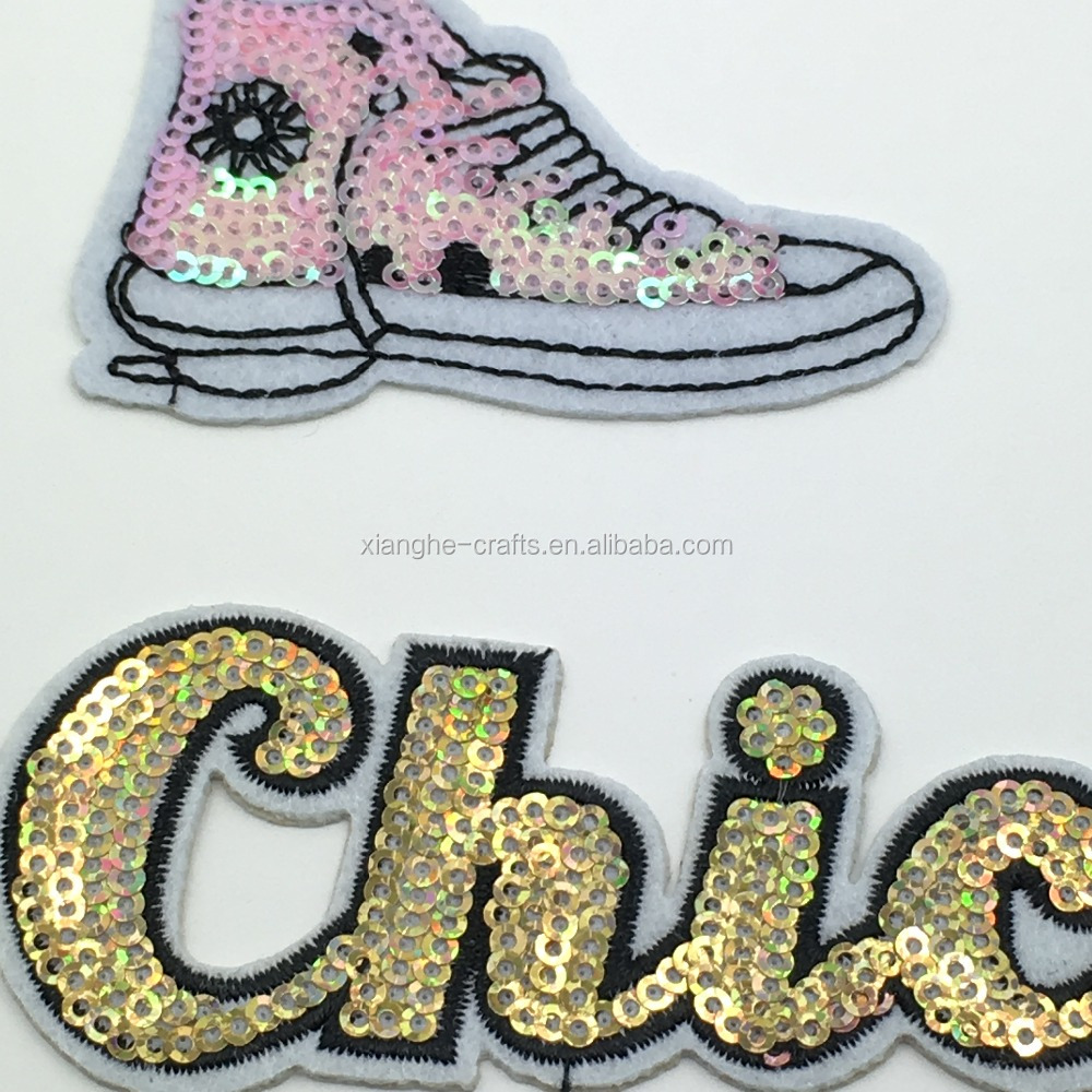 Custom Embroidery Jellyfish Patch Iron On Sequin Patches for Clothing