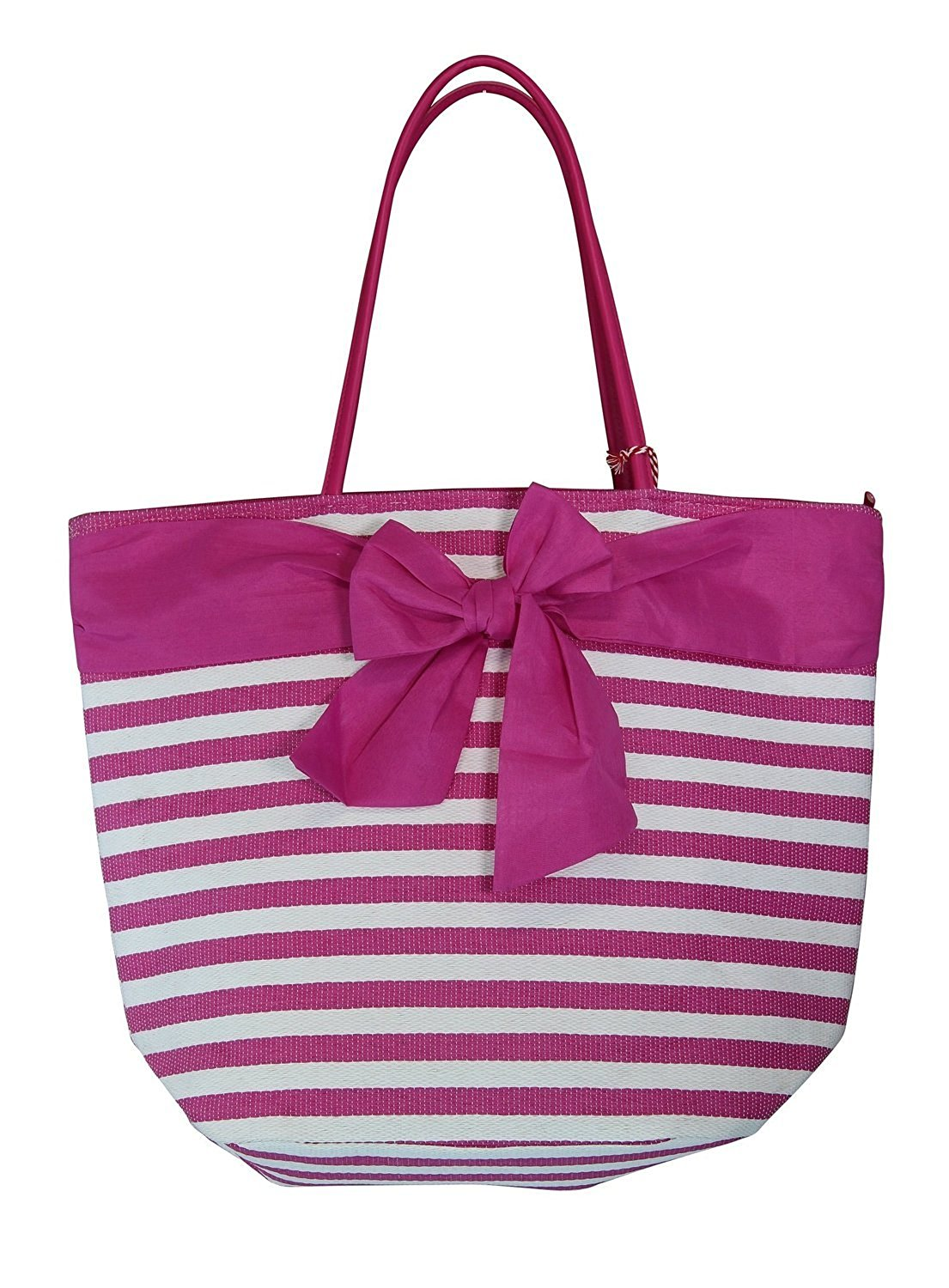 "Large Fashion Stripe Zippered Top Beach Bag Tote with Bow -20""x14""x7"""