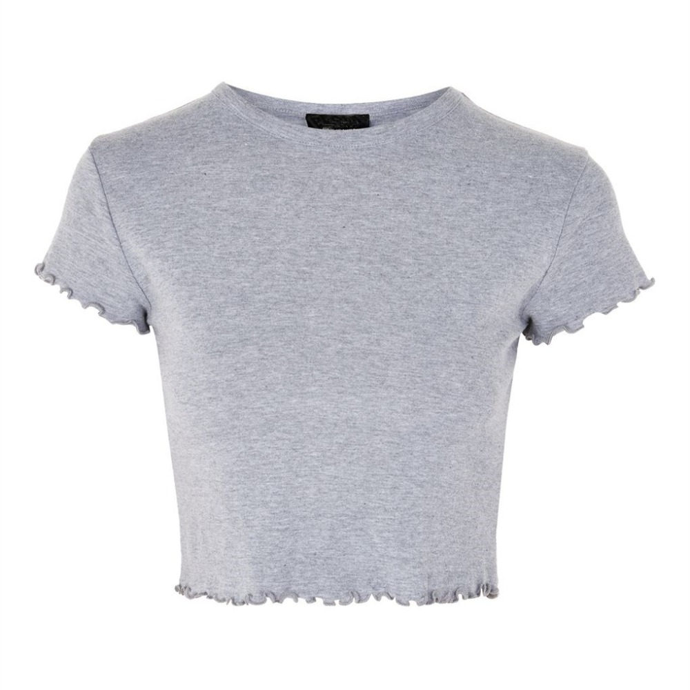 New Design Round Neck Women Fashion Top Cropped Frill Short SleeveT-Shirt