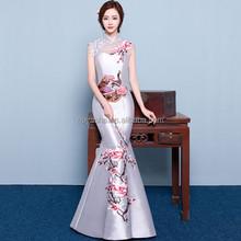 Red Gray Fish Cut Chinese Wedding Cheongsam Traditional Evening Dress