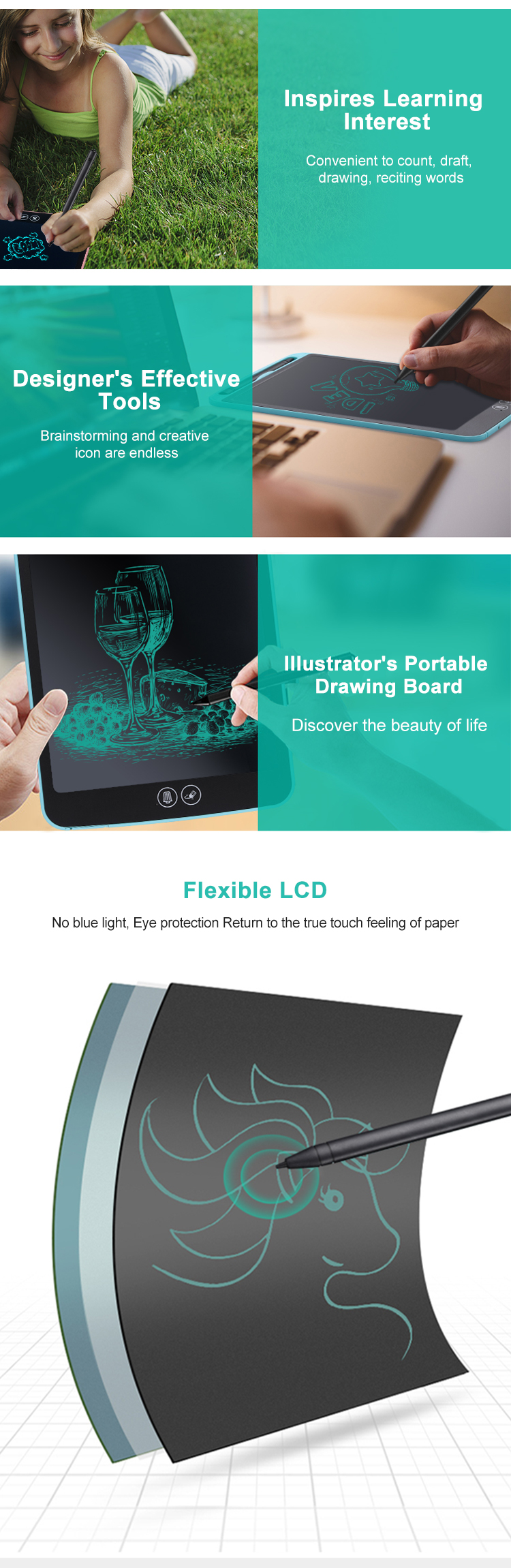 Newyes High End 8.5 Inch Office Electronic Scribble Pad Story Writing Drawing Tablet With Erase Partially