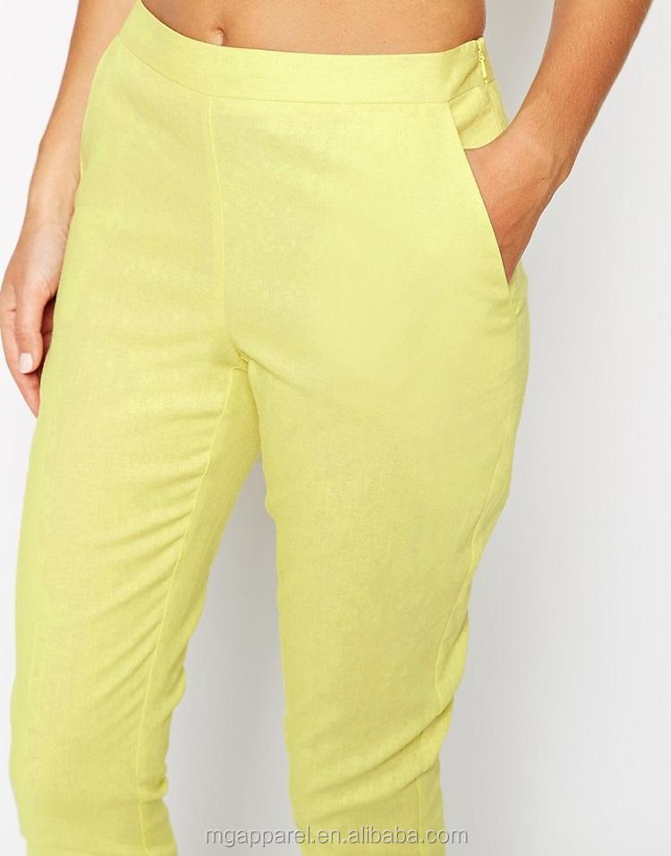 f90c2455bd0f6 Barato side zip amarillo y blanco mujeres Lino pantalones traje estilo  recortada pantalones para las mujeres