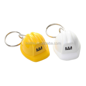 Cheap Plastic Construction Worker Helmet Keychain with Printed Logo