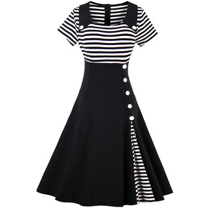 Women's Classy Stripes A Line Short Sleeve Cocktail Bandage Party Sexy Dress