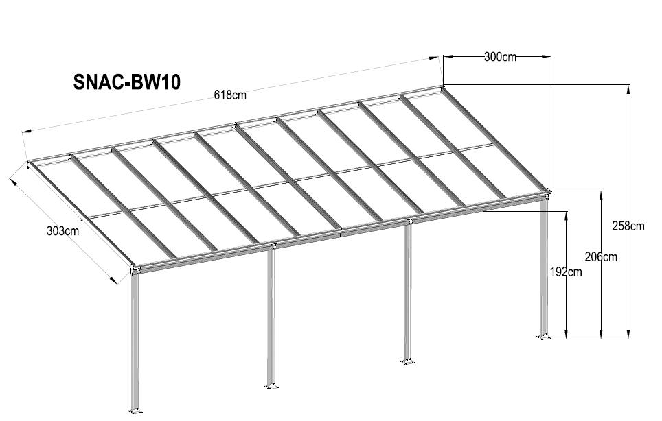 Pergola en aluminium / auvent pour grande porte / toit ouvrant ouvert / auvent / abri de voiture