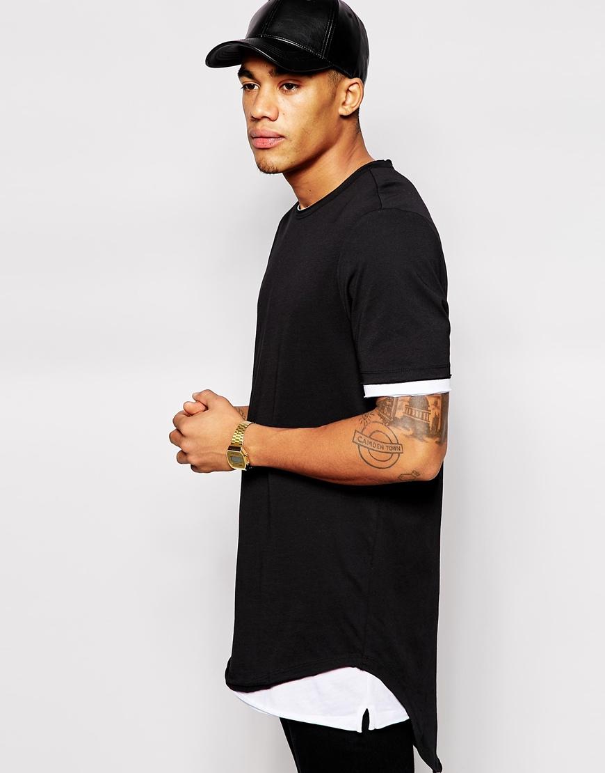 Curved Hem Long Line T-shirt Men,Mens Custom T Shirt Printing ...