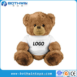 acb71e2a2b8 Custom logo printed small teddy bear with white t shirt